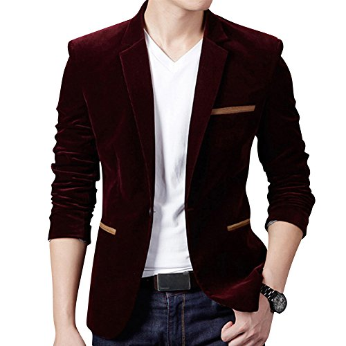 Men's Slim Fit One Button Blazer Corduroy Coat Smart Velvet Dinner Suits Jacket Wine Red S