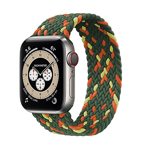 Ternzun Trenzado Solo Loop para Apple Watch Band 44mm 40mm 38mm 42mm Nylon elástico correa pulsera para iWatch Series 3 4 5 SE 6 correa (38mm o 40mm, naranja verde amarillo)