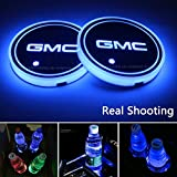 2pcs LED Car Cup Holder Lights For GMC, 7 Colors Changing USB Charging Mat Luminescent Cup Pad, LED Interior Atmosphere Lamp