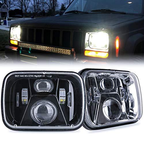 TRUCKMALL 5x7 7x6 inch LED Headlights, H6054 6054 H5054 6052 LED Compatible with Jeep Cherokee XJ Wrangler YJ Comanche MJ Corolla Tacoma Ford F350 Pickup Car Truck Van- Black