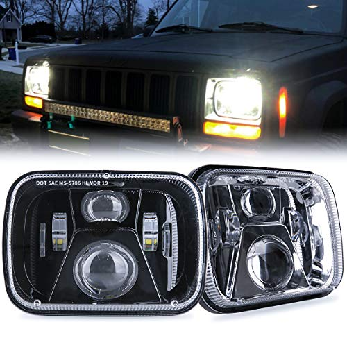 TRUCKMALL 5x7 7x6 inch LED Headlights, H6054 6054 H5054 6052 LED Compatible with Jeep Cherokee XJ Wrangler YJ Comanche MJ Corolla Tacoma Ford F350 Pickup Car Truck Van- Black