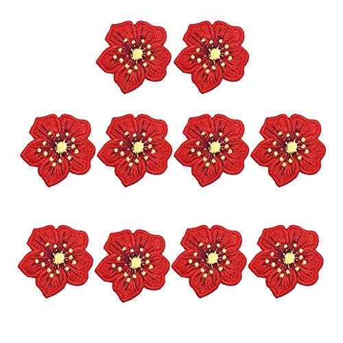 XUNHUI Rote Blumen bestickt Patch für Kleidung zum Aufnähen Aufnähen Aufnähen Aufnäher Jeans Kleidung Aufkleber Abzeichen Aufbügeln Blumen 10 Stück