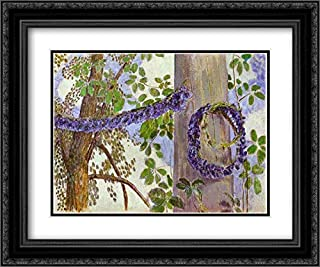 Garlands of Cornflowers 24x20 Black Ornate Frame and Double Matted Museum Art Print by Victor Borisov