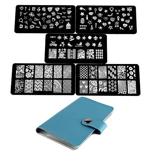 Beauty7 Sets Tampons Vernis Stamping 5 Plaques avec Etui Timbre Pochoir en Metal Image Designs Mixtes Impression Pour Ongle Manucure 01
