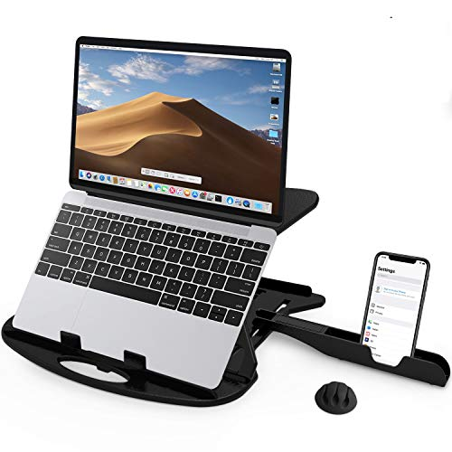 CARNATION Laptop Stand Swivel Desk with Phone Holder and Cable Clip. Adjustable, Foldable & Portable Riser. Fully Compatible MacBook Base Holder and Others