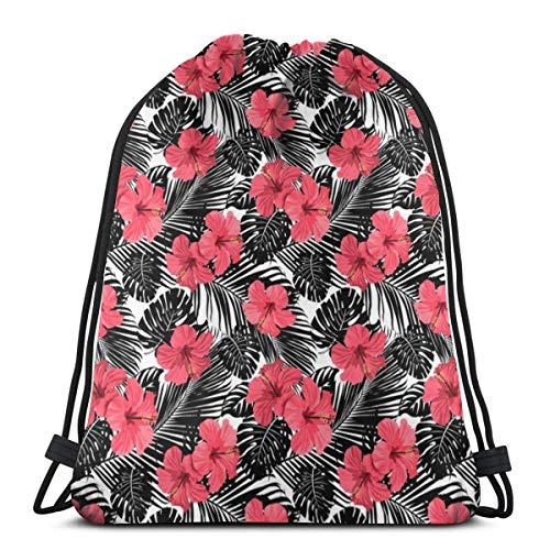 Pink Hibiscus Black and While Tropical Palm Frawns Ramas Mochila con cordón Bolsas deportivas Bolsa de cuerda Saco Cinch Tote Mochila de gimnasio a granel para gimnasio escolar 36 x 43 cm / 14,2 x 16,9 pulgadas