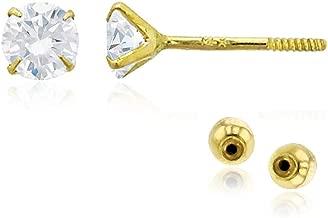 18k Solid Yellow Gold Ball 6 mm Push Back Stud Earrings for Women,Girls Children