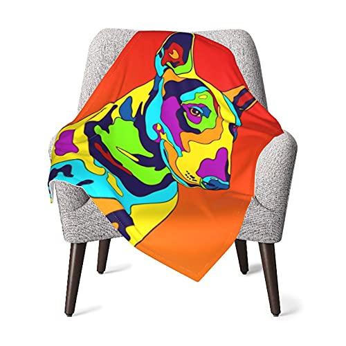 Manta para bebé o niña, manta térmica de Bull Terrier multicolor, manta de bebé, manta para siestas, manta de viaje, manta de viaje, manta de dormir de 76 x 101 cm