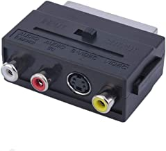 AkoMatial Plastic Durable RGB Scart to Composite 3 RCA S-Video Adaptor Converter Box Connector for TV
