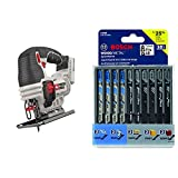 PORTER-CABLE 20V MAX Jig Saw, Tool Only (PCC650B) & Bosch T-Shank Multi-Purpose Jigsaw Blades, 10 Piece, Assorted, Jig Saw Blade Set for Cutting Wood and Metal (T5002)