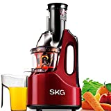 SKG Wide Chute Anti-Oxidation Slow Masticating Juicer (240W AC Motor, 60 RPMs, 3' Large Mouth) - Vertical Masticating Cold Press Juicer