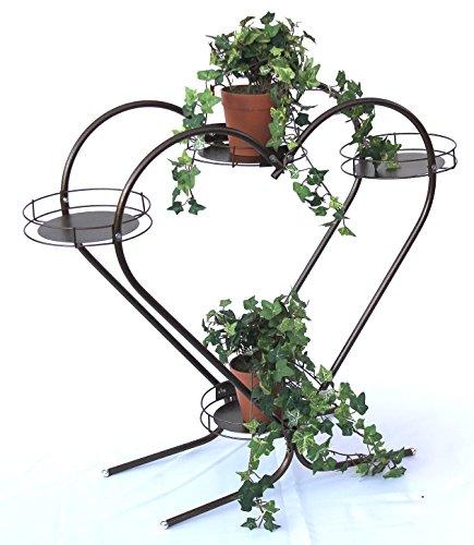 DanDiBo Blumentreppe Metall 64 cm Blumenständer Herz Art.81 mit 4 Abalgen Blumensäule Pflanzenständer Blumenregal Blumenbank Blumenregal