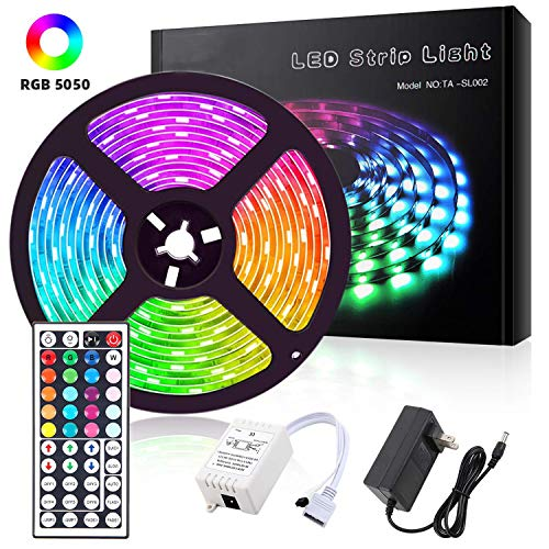 ALFLASH LED Streifen LED Strip Lights 16.4FT 5M RGB Licht Streifen Kit IP65 Wasserdicht Flexible Rope Lights Farbwechsel für Home Christmas Festival Dekoration (5M/16.4FT)