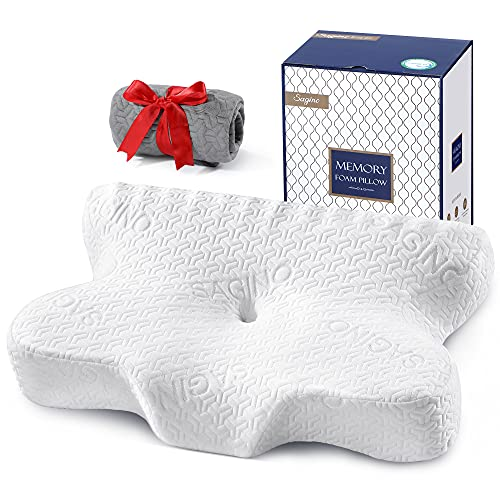 Sagino Cervical Memory Foam Pillow, Chiropractic Contour Bed Pillow with Ergonomic Sleeping Orthopedic Support for Neck & Shoulder Pain Relief, Extra Pillowcase Included- for Side Back Stomach Sleeper
