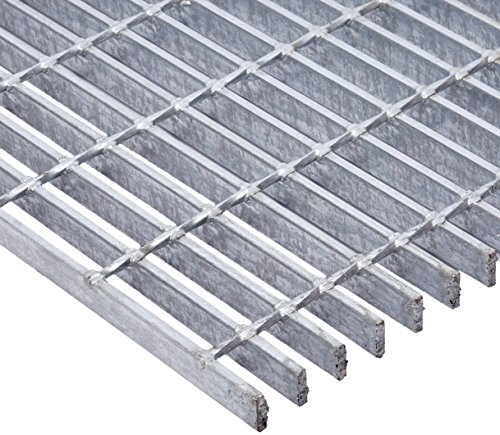 "19W4 Heavy Duty Welded Carbon Steel Bar Grating with 4"" Cross Bar Spacing, Galvanized Smooth Surface, 1/4"" Bar Thickness, 48"" Length x 36"" Width x 1"" Height"