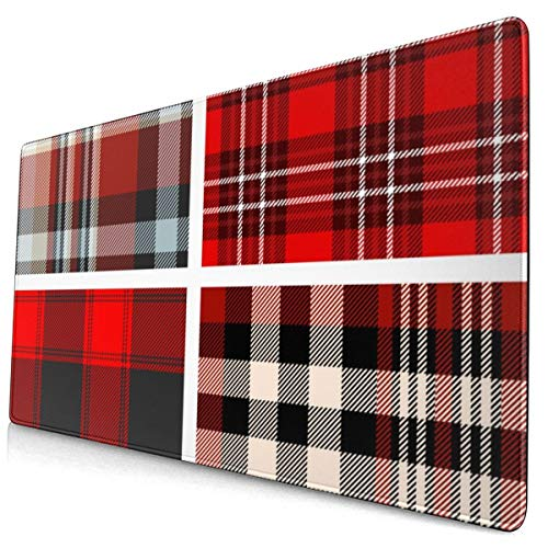 Set Four Tartan Plaid Patterns 40 X 75 Cmgaming Mouse Pad with Water Resistant Surface, Non Slip Rubber Base
