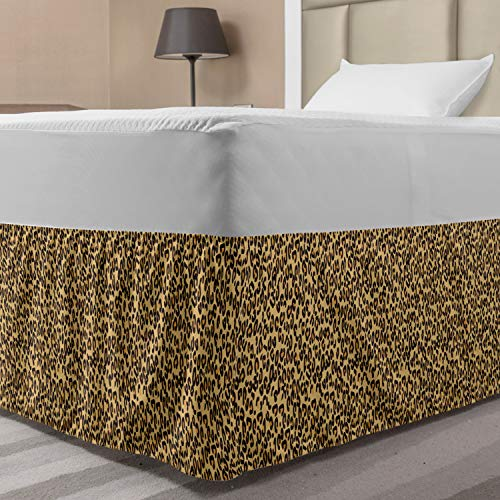 Ambesonne Leopard Bedskirt, Illustration of Continuous Animal Print Random Blemishes Spots, Bedroom Decor Wrap Around Elastic Bed Skirt Gathered Design, Twin/Twin XL, Pastel Camel