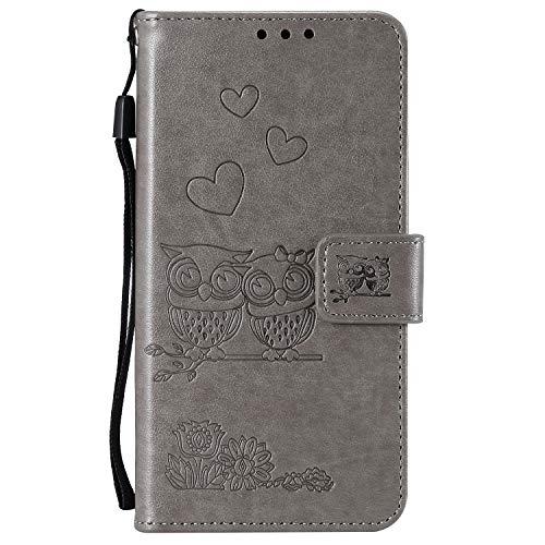Docrax Handyhülle Lederhülle für Sony Xperia XA Flip Case Schutzhülle Hülle mit Standfunktion Kartenfach Magnet Brieftasche für Sony Xperia XA - DOHHA100767 Grau