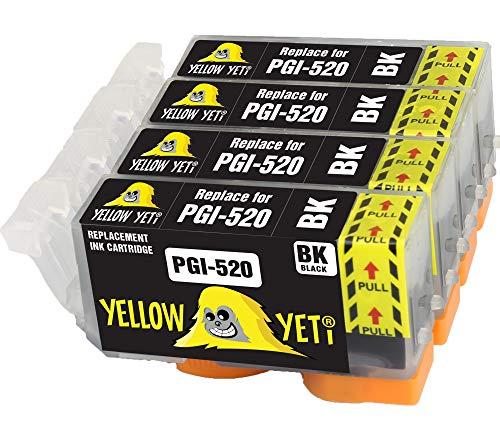 Yellow Yeti Reemplazo para Canon PGI-520 PGI-520BK Cartuchos de Tinta compatibles con Canon Pixma MP560 MP640 MP630 MP620 iP4600 iP4700 iP3600 MP540 MP990 MP980 MP550 MX870 MX860