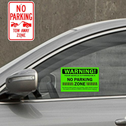 50 Green Fluorescent NO Parking Zone! Violation Towing Auto Car Window Stickers 8X5 Photo #3