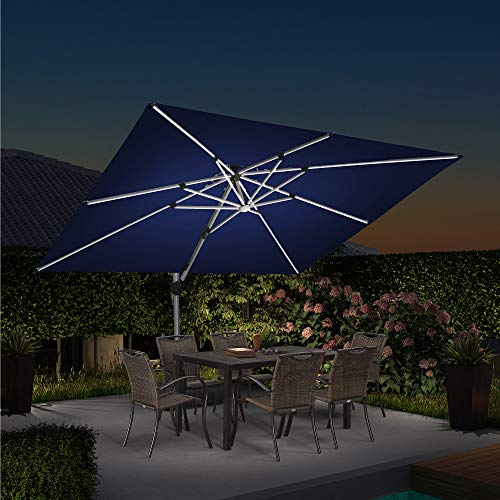 PURPLE LEAF 9' X 12' Double Top Deluxe Solar Powered LED Rectangle Patio Umbrella Offset Hanging Umbrella Outdoor Market Umbrella Garden Umbrella,Navy Blue