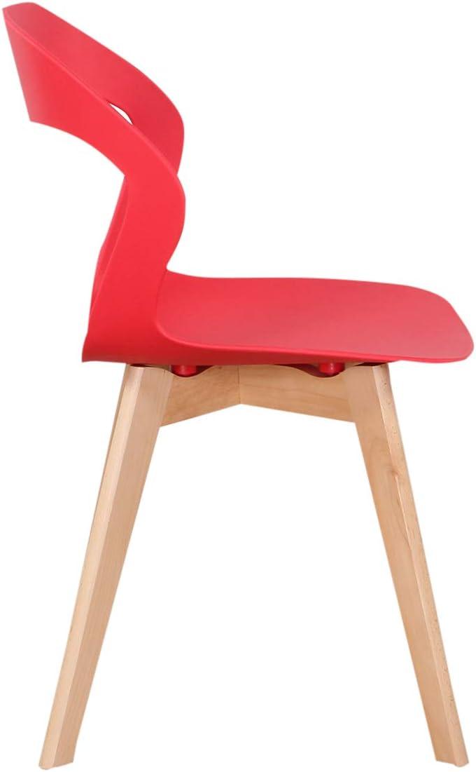 KunstDesign Lot de 4 chaises à dossier creux en plastique pour salle à manger, salon, jardin, bureau, café, noir Rouge