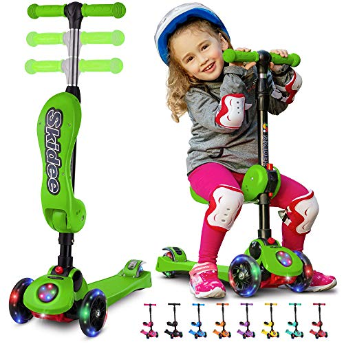 SKIDEE Kick Scooters for Kids 2-12 Years Old - Foldable Scooter with Removable Seat, 3 LED Light Wheels, Back Wheel Brake, Wide Standing Board, and Adjustable Height - 110 Lbs Capacity (with Music)