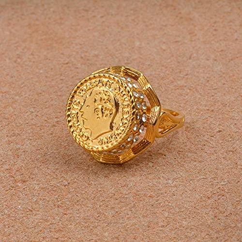 UCJHXFR Anillo De Moneda Árabe De Oro para Dama / Niña, Regalo De Oriente Medio, Diamantes De Imitación # 012912