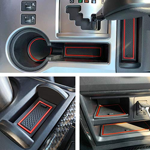 JDMCAR Premium Cup Holder, Console, and Door Pocket Inserts Kit Compatible with Toyota 4Runner 2010-2019 2020 - Custom Liner Accessories (2 Row, Red Trim)-27PC Set