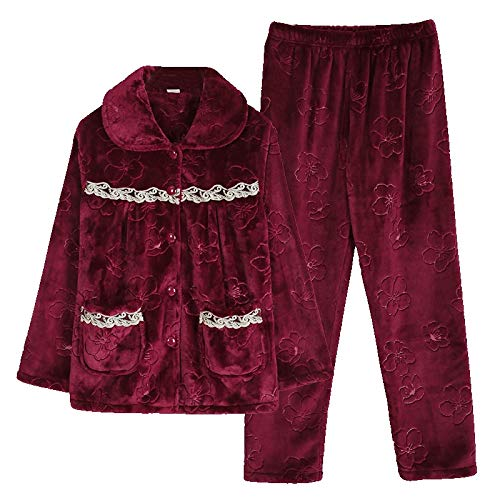 DFDLNL Pijamas Mujer Invierno Coral Fleece Manga Larga Engrosamiento Otoo Invierno Patrn Floral Franela Traje de casa XXL