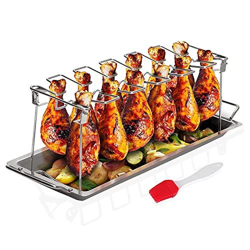 Sandtix Hähnchenbein-Flügel-Rost aus Edelstahl, vertikaler Bräter für Grill-Smoker oder Backofen mit Auffangschale zum Grillen von Gemüse auf dem Grill, spülmaschinenfest, komplett Silikon-Backpinsel