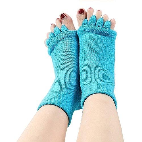 Telshopjapan 足指セラピー 5本指 ヨガ ソックス マッサージ 指なし 血行促進 むくみ解消 ルーム 靴下 快眠 冷え取り 男女兼用 10色 (ライトブルー, 1)