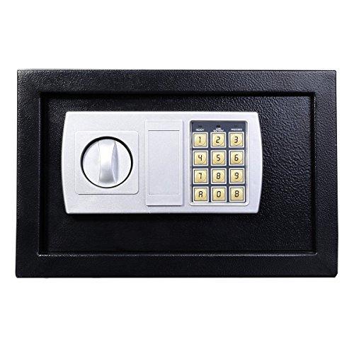 Tresor, Digital Elektronischer Safe, Sicherheitskasten Feuerfester und wasserdichter Sicherheitsschrank mit Schlüssel, Möbeltresor Für Schmuck Bargeld, 31x20x20cm