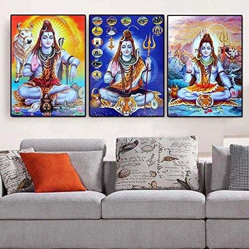 MYSY Shiva Lord Leinwand Gemälde Religion Frauen Hindu Götter Wandkunst Leinwand Hinduismus Wand Poster Und Drucke Bild Home Decor-40x60cmx3 pcs kein Rahmen