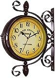 Reloj De Jardín Resistente a La Intemperie Al Aire Libre, 15 Pulgadas Clásico Rotación De 360 ° En Ambos Lados Reloj De Estación Con Soporte De Estación Reloj De Exterior Jardín De Interior Decoraci