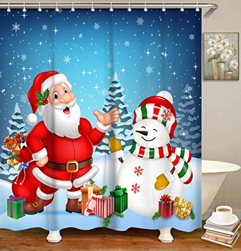 LIVILAN Merry Christmas Santa Claus and Snowman Shower Curtain with 12 Hooks, Xmas Gift Boxes Decorative Blue Fabric Bath Curtain, New Year Bathroom Decoration Machine Washable, 72 X 72 Inches