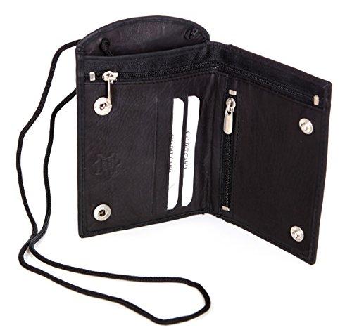 Premium Brustbeutel Echt-Leder Brusttasche Umhängebeutel Geldbeutel ideal für Reise & Freizeit AM-107 (Schwarz)