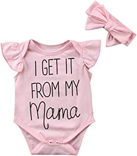 Newborn Baby Girls Cute Ruffle Bodysuit I Get It from My Mama Letters Print Sleeveless Romper with Pink Headband