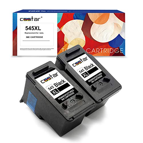 CSSTAR Wiederaufbereitet Tintenpatronen Ersatz für Canon PG-545XL für Pixma MG2550S MG2950 MG2450 MG3050 MG3051 MX495 IP2850 MG3052 MG3053 MG2900 Drucker - 2 Pack, Schwarz