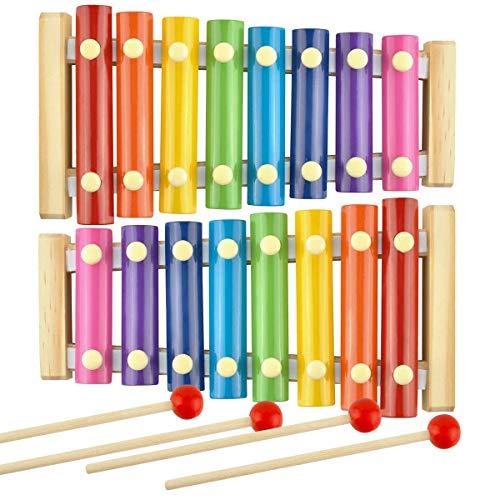 Xilofono,ZUZER 2pcs Xilófono Infantil Xylophone Glockenspiel de Madera de Colores Juguete de Instrumentos Musicales para Niños