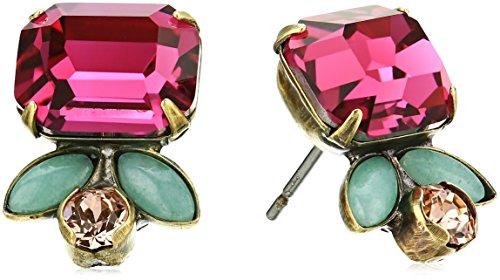 Sorrelli Womens Radiant Sunrise Petite Floral Stud Earrings, Pink, 1