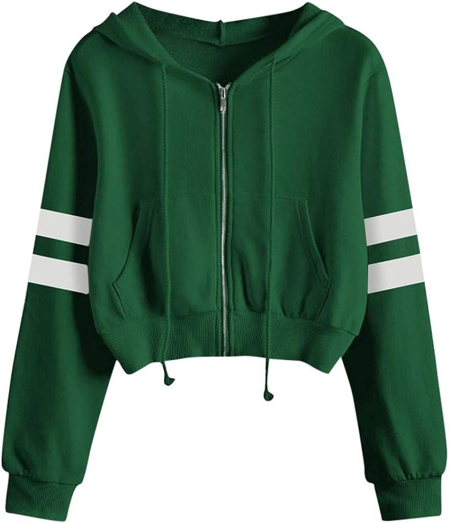 ORT Hoodies for Women Zip Up, Women's Cute Sweatshirts Stripe Printing Long Sleeve Hoodie Pullover Tops