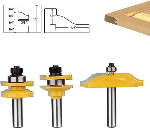 "discount Baowox online sale 3Pcs 1/2"" Shank Raised Panel Cabinet Door Router Bit Set Milling Cutter Woodworking Chisel Cutter online sale Tool Set online"