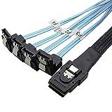 CableDeconn Mini SAS 36ピン SFF-8087 to 4 SATA 7ピン ケーブル オス-メス L型 Mini SASホスト/コントローラ to 4 SATA ターゲット/バックプレーン データケーブル 6GB 0.5 M