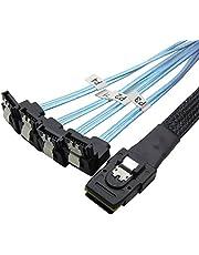 CableDeconn Mini SAS 36P SFF-8087 to 4 SATA 7Pin 90 Degrees Target Hard Disk Data Cable