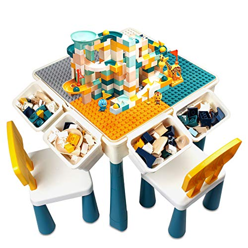 Toddler Activity Table, Kids Table & Chair Set All-in-One Multi Activity Playset Compatible Building Block and Water Table Outdoor Play Sand Table, Versatile Toys for Toddlers 3 4 5 6 Year Old