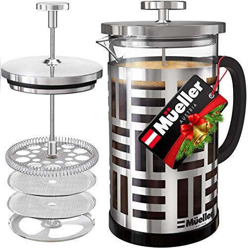 Mueller Soho Glass French Press Coffee Maker 17oz, 304 Stainless Steel Coffee Press with 4 Stage Filtration, Durable Easy Clean Heat Resistant Borosilicate Glass