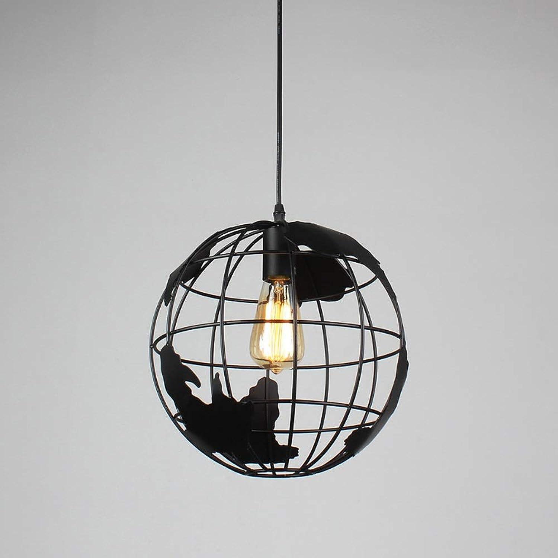 Kronleuchter - Designer Retro Schmiedeeisen Industrial Globe Restaurant Studio Cafe Bar Dekorative Lichter (Farbe   schwarz)