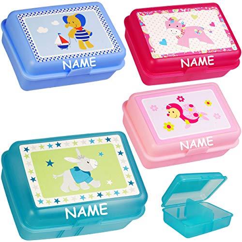 alles-meine.de GmbH 2 Stück _ Lunchboxen / Brotdosen -  Jungen Motiv  - inkl. Name - BPA frei - mit Trennwand / herausnehmbaren Fach - Brotbüchse Küche Essen - Vesperbrotdose -..