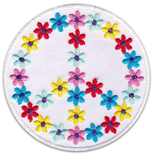Peace Flower Power Aufnäher Aufbügler Patch Hippie Festival Sommer Reggae Friedenszeichen Bügelbild